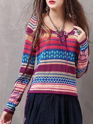 Multicolor Printed Long Sleeve Geometric Sweater_1