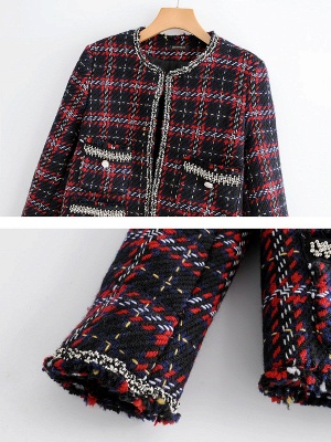 Red Crew Neck Beaded Casual Checkered/Plaid Pockets Coat_6