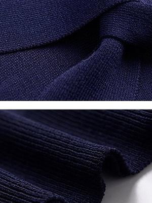 Tie-neck Ice Yarn Knit Elegant Short Sleeve Shift Knitted Sweater_10