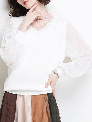 Shift Balloon Sleeve Guipure lace Casual Sweater_6