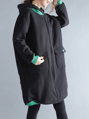 Casual Hoodie Zipper Long Sleeve Shift Pockets Printed Coat_8