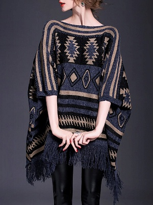 Dark blue Fringed Casual Cotton Batwing Sweater_1