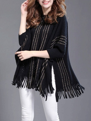 Shift Wool Batwing Casual Geometric Sweater_3
