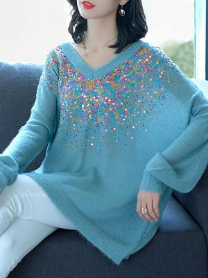 Blue V neck Long Sleeve Shift Casual Sweater_1