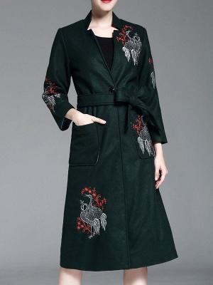 Dark Green Animal V neck Long Sleeve Coat_1