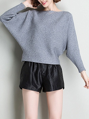 Shift Solid Batwing Bateau/boat neck Casual Sweater_7