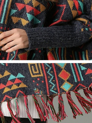 Multicolor Geometric Long Sleeve Casual Fringed Sweater_5