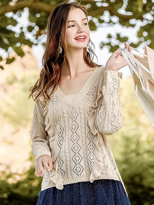 Apricot V neck Long Sleeve Geometric Cutout Sweater_5