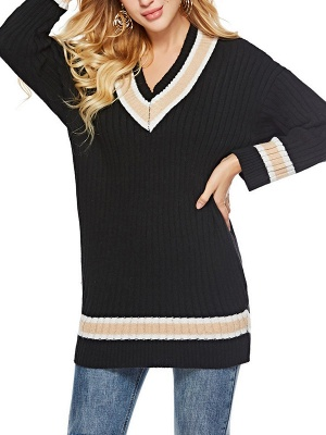 Casual Ribbed Solid Long Sleeve Sweater_2