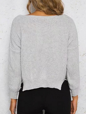 Cotton Casual Crew Neck Long Sleeve Shift Sweater_5