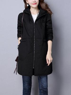 Zipper Hoodie Pockets Shift Long Sleeve Coat_1