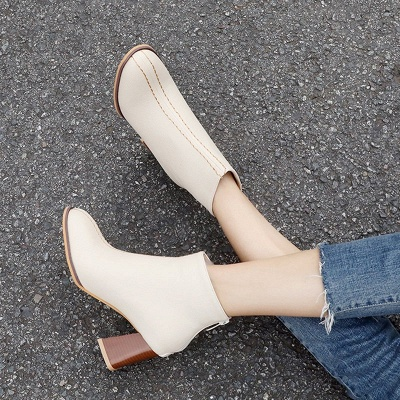 Chunky Heel PU Zipper Daily Pointed Toe Boots_4