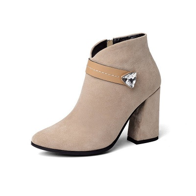 Zipper Chunky Heel Daily Suede Elegant Pointed Toe Boots_3