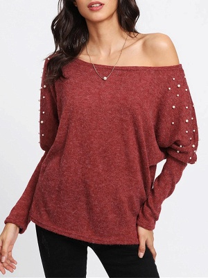 Red Long Sleeve Solid Casual Sweater_1