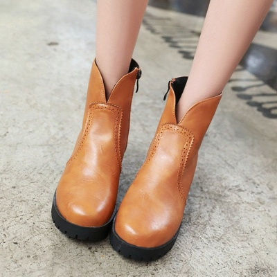 Fall PU Chunky Heel Round Toe Boot_7