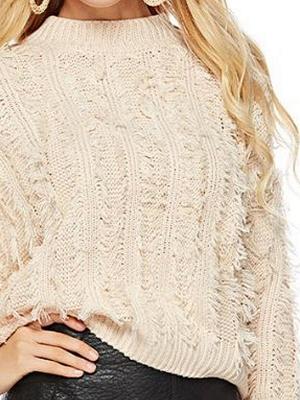 Long Sleeve Casual Geometric Sweater_7