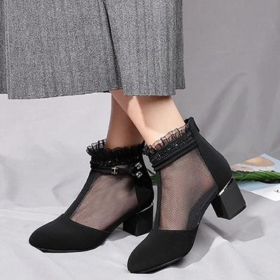 Daily Mesh Fabric Zipper Round Toe Boots_2