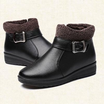 Wedge Heel Daily Zipper Round Toe Buckle Boots_8