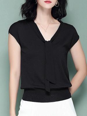 Tie-neck Ice Yarn Knit Elegant Short Sleeve Shift Knitted Sweater_4