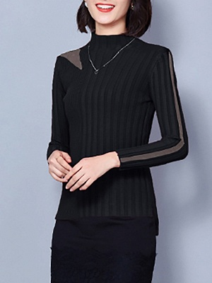 Solid Casual Long Sleeve Turtleneck Sweater_4
