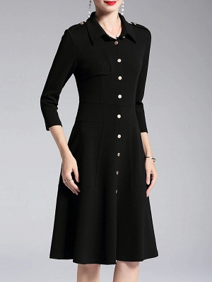 A-line Shirt Collar Buttoned Casual Long Sleeve Paneled Solid Coat_6
