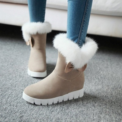Wedge Heel Suede Fur Round Toe Bowknot Boots_2