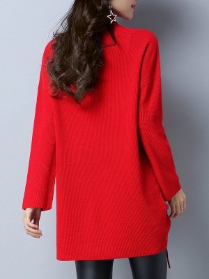 Long Sleeve Casual Stand Collar Knot Front Sweaters_4