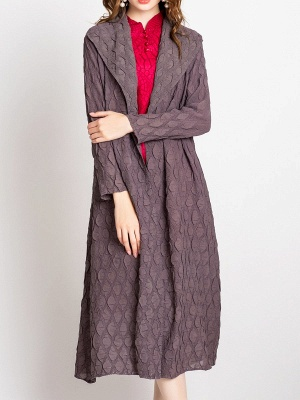 Long Sleeve Casual Slit Embossed Shawl Collar Solid Coat_7