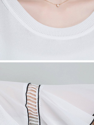 Casual Knitted Shift Frill Sleeve Binding Sweater_6