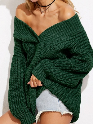 Off Shoulder Solid Shift Long Sleeve Casual Sweater_4