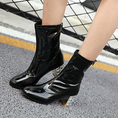 Chunky Heel Zipper Elegant Square Toe Boots_5