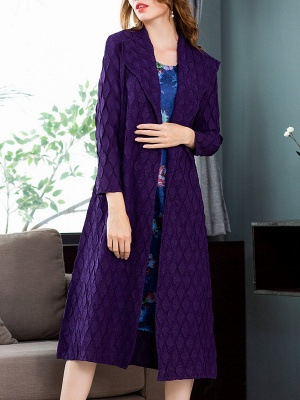 Purple Casual Embossed Long Sleeve Solid Shawl Collar Shift Slit Coat_5