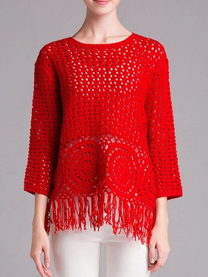 Red Geometric Shift Long Sleeve Sweater_7