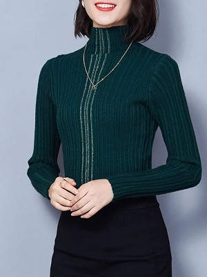 Ribbed Long Sleeve Solid Casual Sheath Sweater_6