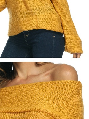 Casual Off Shoulder Solid Knitted Balloon Sleeve Sweater_7
