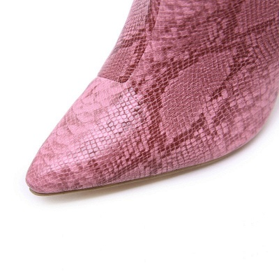Women's Boots Stiletto Heel Pink Zipper Pointed Toe Sexy Boots_10