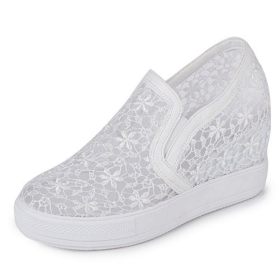 Wedge Heel Embroidery Round Toe Mesh Fabric Loafers_1
