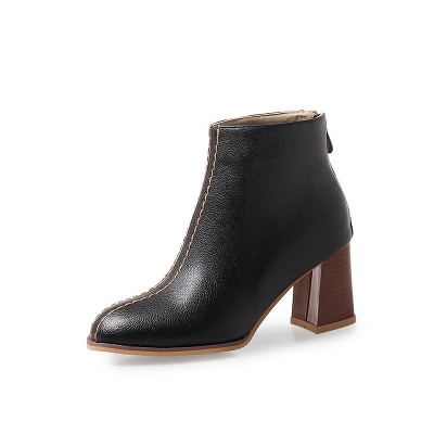 Chunky Heel PU Zipper Daily Pointed Toe Boots_3