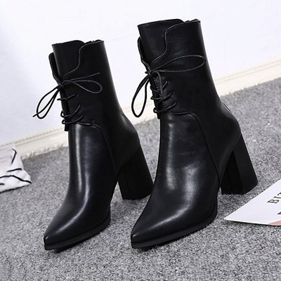 Lace-up Chunky Heel Daily Pointed Toe Elegant Boots_7