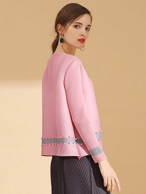 Pink Buttoned Color-block Pleated Beaded Coat_3