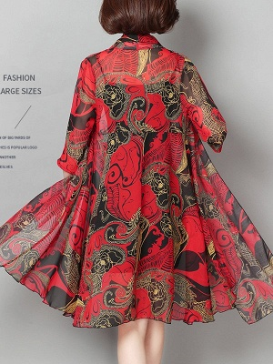 3/4 Sleeve Floral Swing Casual Printed Chiffon Coat_4
