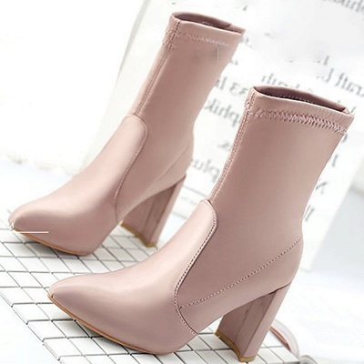Daily Chunky Heel Zipper Pointed Toe PU Boots_7