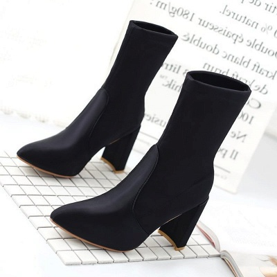 Daily Chunky Heel Zipper Pointed Toe PU Boots_6