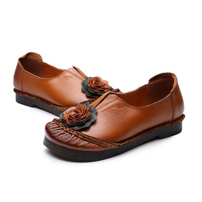 Flower Round Toe Casual Leather Loafers_12