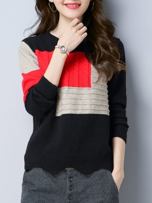 Long Sleeve Cable Casual Knitted Sweater_4