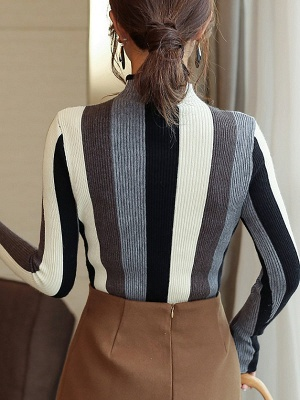 Casual Long Sleeve Stand Collar Color-block Sheath Sweater_7