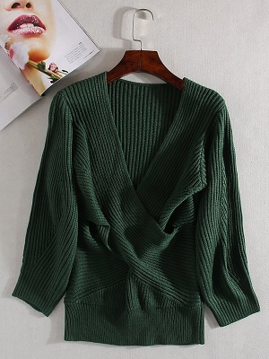 Green Sheath Long Sleeve Plunging neck Sweater_8