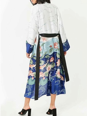 Blue Bow Casual Color-block Floral Printed Shift Coat_3