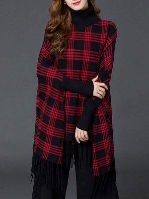 Checkered/Plaid Elegant Batwing Sweater_12
