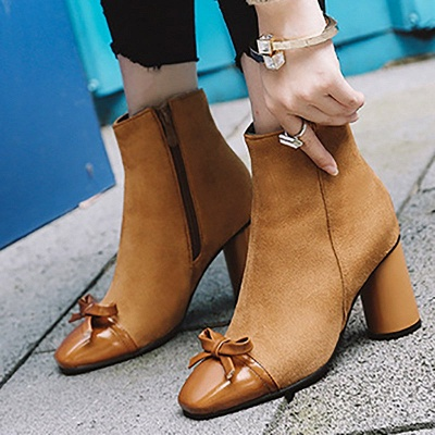Daily Zipper Square Toe Bowknot Chunky Heel Boots_4